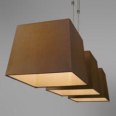 Lampa wisząca Combi Delux 3 klosz kwadratowy 30cm brązowy