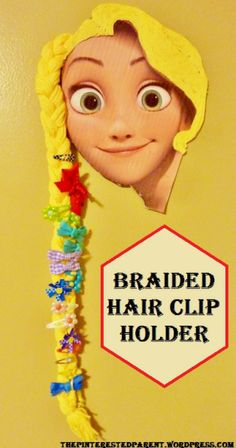 Diy Braided Hair Princess Barrette Holder - cute idea for the kiddos room