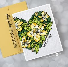 Stamped Paper Piecing Video by Jennifer McGuire Ink Jennifer Mcguire Ink, Miss You Cards, Toned Paper, Cards For Friends, Friend Cards, Card Making Techniques, Flower Cards, Clear Stamps, Pattern Paper