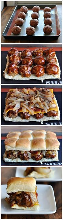 Dive into these yummy meatball sliders. INGREDIENTS 1 pound ground beef with a smokey BBQ mix 1 egg 1⁄3 pound bacon, chopped 1 medium onion, chopped 1⁄4 cup Hickory BBQ sauce 3 slices cheddar cheese 12 Hawaiian Rolls INSTRUCTIONS 1. Preheat oven to 375 degrees F and line a lipped baking sheet with parchment paper and non-stick spray or a Silpat baking mat. 2. In a bag, use your hands to mix and combine the bag contents, ground beef and egg until evenly distributed. 3. Roll the mixture into…