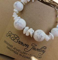 Howlite Gemstone Bracelet, Beaded Gemstone Bracelet, Handmade U.K. Jewellery, Wedding Jewellery, Customized Jewellery, K Brown Jewellery by KBrownJewellery on Etsy