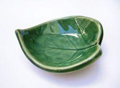 Tiny Green Leaf Bowl, Ceramic by artlauren