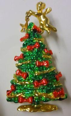 Vintage+Signed+AJC+Rhinestone+Star+Angel+Enamel+Christmas+Tree+Pin+Brooch+RARE+