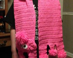 Pink Poodle Scarf Crochet Pattern by DonnasCrochetDesigns on Etsy