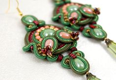 Long Soutache Earrings / green knaki peach / от BeadsRainbow