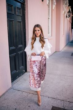 Gal Meets Glam Pink Sequin Skirt -Endless Rose sweater, Tory Burch skirt, Louboutin pumps, Rebecca de Ravenel earrings & Rocio clutch