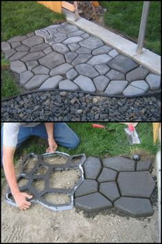 This cobble stone path project is inexpensive, easy to make, and is both functional and decorative!