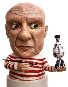 "Picasso by Tony Natsoulas. Ceramic busts of artists. ""Every child is an artist. The problem is how to remain an artist once we grow up."" . . . ""I just do what little voice inside tell me to do."" (Natsoulas)"