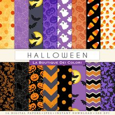 Halloween Digital paper Printable paper by LaBoutiqueDeiColori