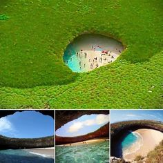 Mexico's Hidden Beach It's located on Marietta island(s) on the north part of Bandaras Bay near Puerto Vallarta, Mexico. - via Green Renaissance