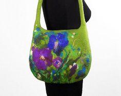 Felt Purse Nunofelt Bag Designer bag Black Handbag Felt by filcant