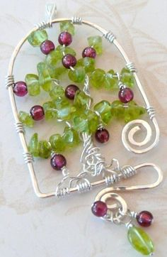 Tree of Life Pomegranate Tree sterling silver garnet by KinorDavid