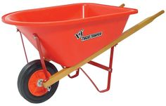True Temper Kids Wheelbarrow > Treat your little gardener to fun, physical play with this True Temper Kids' Lil' True Temper Wheelbarrow. It features a sturdy, bright red plastic receptacle and wooden handles with smaller en. Child's Wheelbarrow, Lawn And Garden, Garden Tools, Physical Play, Plastic Trays, Rubber Tires, Wooden Handles, Mini, Hanger