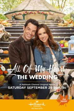 "Sep 2018 - Lacey Chabert, Brennan Elliott and adorable goats return for the wedding event you've been waiting for - ""All of My Heart: The Wedding""! Be our wedding guest on September 29 only on Hallmark Channel! Family Christmas Movies, Hallmark Christmas Movies, Family Movies, Holiday Movies, Hallmark Holidays, Abc Family, Halloween Movies, Halmark Movies, Movies To Watch"