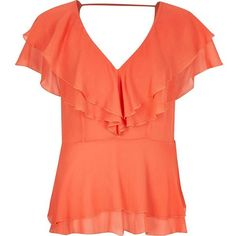 River Island Coral frilly blouse (£48) ❤ liked on Polyvore featuring tops, blouses, orange, ruffle top, flounce tops, coral blouse, coral top and ruffle v neck blouse
