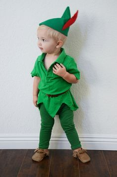 Oh my gosh this little Peter Pan costume is so cute!! To see how to DIY, visit http://www.babble.com/style/diy-peter-pan-halloween-costume-for-kids/