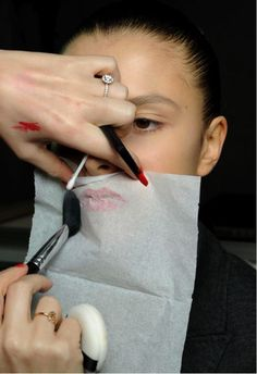 After applying lipstick, to seal, place a tissue over lips and lightly apply powder concealer, this also works great for a matte effect
