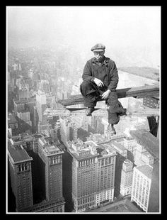 Construction of the Empire State Building - Hope this guy got off all right!