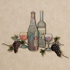 Perfect Vintage Wine and Grape Metal Wall Art