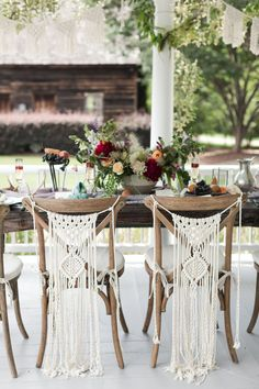 3 Piece Macrame Wedding Backdrop Two Macrame Chair BacksBoho Wedding Dream with Durham Wedding Florist Boho Wedding Decor with Macrame Chair Accents for Bride and Groom.This scene from the porch of The Sutherland from Bowerbird Flowers, a Durham wedd Background Diy, Wedding Background, Macrame Chairs, Boho Wedding Decorations, Wedding Centerpieces, Ideias Diy, Macrame Projects, Wedding Chairs, Wedding Seating