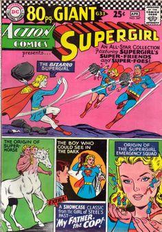 Action Comics 347 Supergirl 80 page giant issue comic cover Dc Comic Books, Comic Book Covers, Comic Art, Dc Comics Art, Marvel Dc Comics, Bizarro Comic, Superman Comic, Batman, Silver Age Comics
