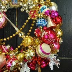 """Detail of """"Let Them Eat Cake"""" wreath made for the Beekman 1802 Holiday website 2014.  ©Glittermoon Vintage Christmas"""