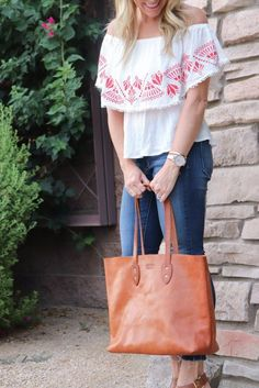 Vintage Leather Tote Bag Made in USA - Jackson Wayne Leather Goods Classic  Leather 176ef6dd43cc8