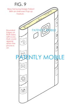 Samsung dual edge display design patent surfaces, along with a mysterious pop-up panel