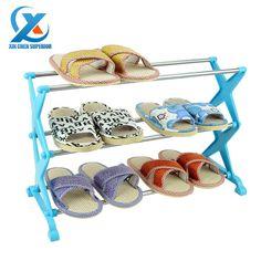 Minőség&Olcsó Rozsdamentes acél összecsukható 3-rétegű cipősszekrény/cipős polc/cipős szekrény, állni cipő tárolására cipő, polcon könyvek
