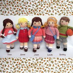 Little Friends in Autumn toy doll knitting pattern par dollytime