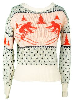1940s Medium Sweater Ski Holiday Retro Pin Up Rockabilly Christmas Xmas Ugly Winter Resort Knitted Outerwear Santa Claus Mrs Elf Party Mod