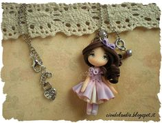 Lilac princess doll necklace Polymer clay