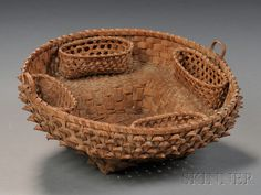 Indian-made Woven Splint Sewing Basket