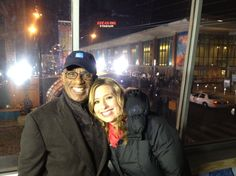 Al Roker and Stephanie Abrams outside Lucas Oil Stadium during WUWA