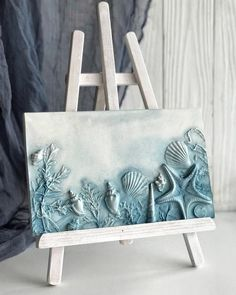 Blue square botanical bas-relief for wall decor-Amazing plaster mural by frame house wall decora-Panel with seashells for kitchen decortion - Dehily Plaster Art, House Wall, Seashell Crafts, White Paneling, Blue Square, Sea Shells, Wall Art Decor, Etsy, Pottery
