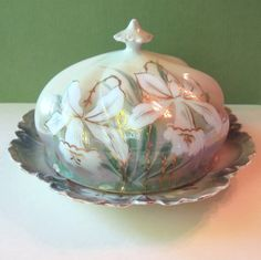Love this beautiful vintage hand-painted Butter dish!