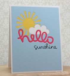 Lawn Fawn - Scripty Hello, Spring Showers, Hello Sunshine _ adorable card with fancy inlaid die cuts by Tracey via Flickr - Photo Sharing!