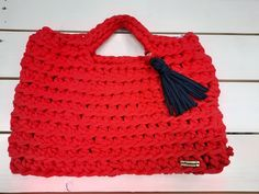 Handmade tshirt yarn handbag, summer crochet bag, women handbag,cherry red bag with navy blue tassel, boho bag,shopping bag by StellaandFoteini on Etsy Crochet Handbags, Crochet Bags, Red Bags, T Shirt Yarn, Cherry Red, Unique Outfits, Shopping Bag, Tassels, Navy Blue