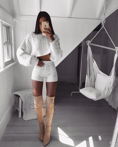How cute is this knit set? Chic Outfits, Trendy Outfits, Summer Outfits, Girl Outfits, Fashion Outfits, Fashion Models, Girl Fashion, Womens Fashion, Pinterest Fashion