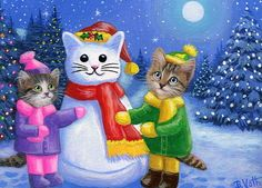 Kittens cats snow kitty moon Christmas trees fantasy original aceo painting art #Realism