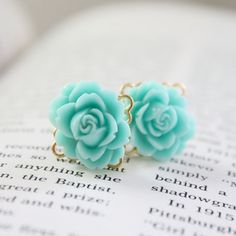 4g 2g 0g 00g Flower Plugs Aqua Rose Gauges for Stretched Ears on Gold Tone Filigree Backing Custom Size 4 2 0 00 Wedding Bridal