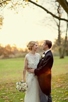 Jenny Packham's Esme for a Charming and Elegant Country House Winter Wedding http://www.mariannetaylorphotography.co.uk/.