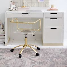 Shop Desk from Pottery Barn Teen. Our teen furniture, decor and accessories collections feature fun and stylish Desk. Create a unique and cool teen or dorm room. Home Office Desks, Office Decor, Room Ideas Bedroom, Room Decor, Tween Room Ideas, Oversized Furniture, White Furniture, Office Furniture, Furniture Ideas