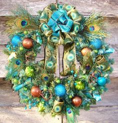Turquoise, lime and brown...with a touch of peacock!  Now this is something different for the holidays!