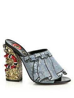 acce0c6fa2 Gucci Owen Trompe L oeil Sequin Ruffle Mule Sandals Sapatos Mulas