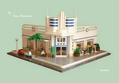 The Ocean Restaurant, an Streamline Moderne restaurant in the spirit of Miami's South Beach neighborhood.  LEGO Model by Andrew Tate / Snaillad.
