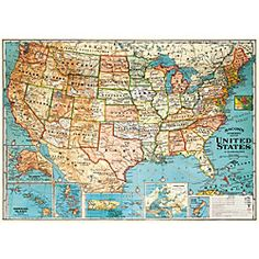 Cavallini USA Map Wrapping Paper