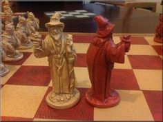 Warlords, Wizards, Dragons and Goblins Chess Set. Antique Red and Aged Sandstone with optional Vinyl Chess Board