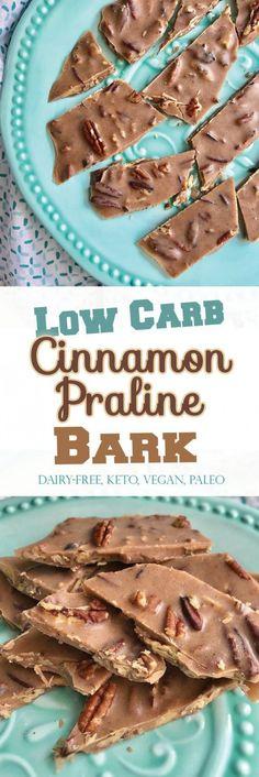 Low Carb Cinnamon Praline Bark (vegan, paleo, THM - S) Low Carb Desserts, Healthy Desserts, Low Carb Recipes, Keto Snacks, Atkins Desserts, Healthy Candy, Diabetic Desserts, Easy Snacks, Weight Watcher Desserts