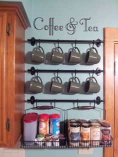 Coffee & Tea Wall Art Decal for Coffee Bar Decor (Decal Only)